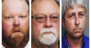 """Travis McMichael (l), Gregory Michael (m), and William """"Roddie"""" Bryant are charged with murdering Ahmaud Arbery in Brunswick, GA on February 23, 2020."""