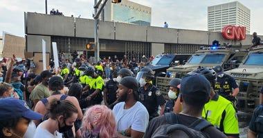 Police barricade outside CNN Center Atlanta