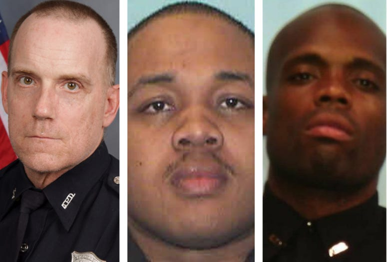 APD officers (l-r) Claud, Streeter, and Jones are among 6 charged with various offenses in the arrest of 2 college students during protests in Atlanta.