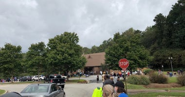 Voters turn out in record numbers to vote. This photo is from Oct 12 2020 in Stockbridge, Georgia.