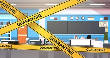 epidemic MERS-CoV quarantine caution on yellow warning tape modern school classroom interior coronavirus infection wuhan 2019-nCoV pandemic health risk concept horizontal