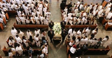 Family and friends dressed in white remembered Rayshard Brooks at Ebenezer Baptist Church in Atlanta