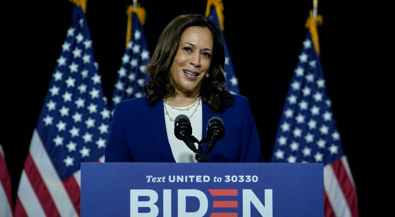 WILMINGTON, DE - AUGUST 12: Democratic presidential candidate former Vice President Joe Biden's running mate Sen. Kamala Harris (D-CA) speaks during an event at the Alexis Dupont High School on August 12, 2020 in Wilmington, Delaware. Harris is the first