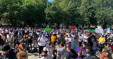 Protest in Brunswick GA the day after the arrests of Gregory and Travis McMichael in the death of Ahmaud Arbery