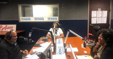 Derrick Boazman with Elisabeth Omilami and Cinnamon Baldwin.