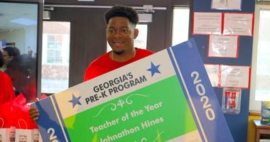 Georgia Pre-K Teacher of the Year Johnathon Hines says time away from his student is difficult