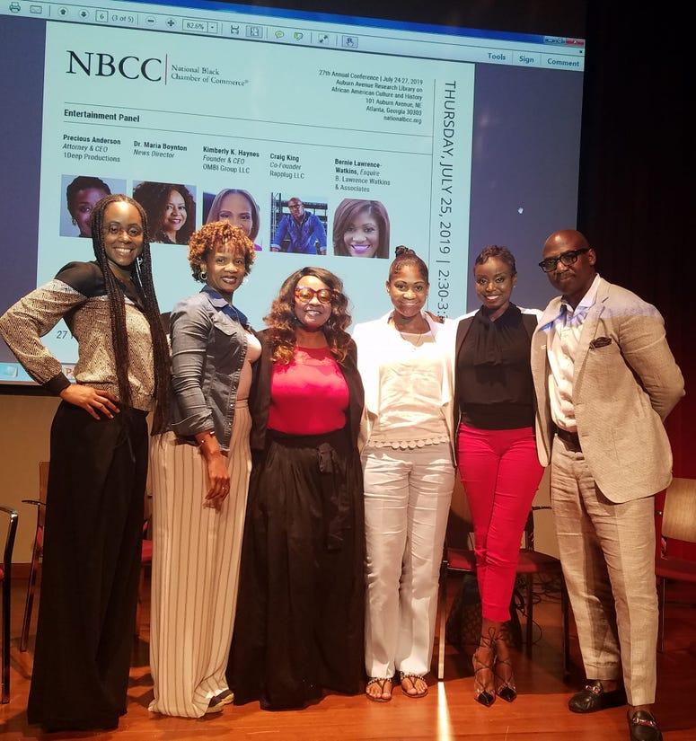 NBCC Entertainment panel Thursday (l-r) Radio host Sheriese Nicole, Attorney Kimberly Haynes, V103 Atlanta's Maria Boynton, Att. Bernie Lawrence-watkins, Att Precious Anderson, and Craig King with Rapplug