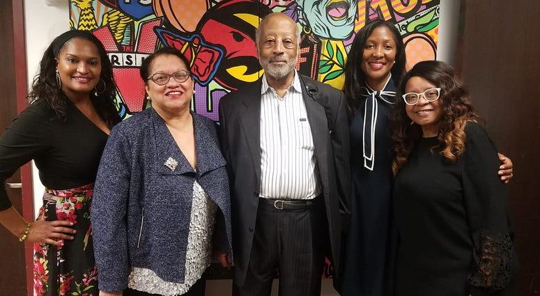 NBCC members (l-r) Atlanta business owner Ronni McBride, founders Kay DeBow and Harry Alford, Fulton County Commissioner Natalie Hall, and Maria Boynton