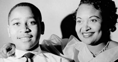 Mother Emmett Till (r) poses with son Emmett (l) . He was murdered in 1955 Mississippi.