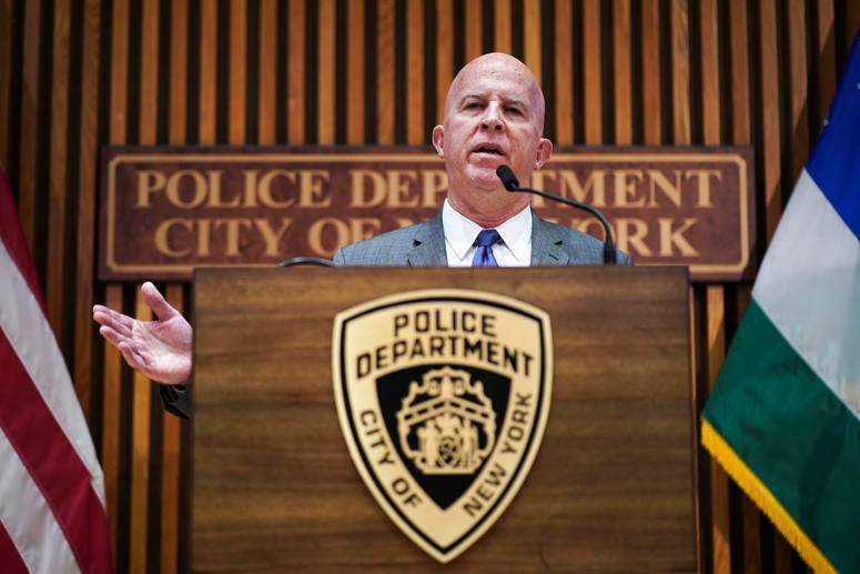 New York City Police Commissioner James O'Neill speaks during a press conference to announce the termination of officer Daniel Pantaleo on August 19, 2019 in New York City. Officer Pantaleo has been fired from the NYPD