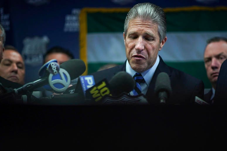Pat Lynch, president of the NYC Police Benevolent Association, pauses while speaking during a press conference after the announcement of the termination of officer Daniel Pantaleo at PBA headquarters on August 19, 2019 in New York City