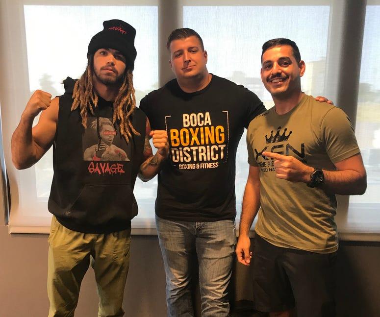 "XFN bantamweight champ Ryan ""Third Street Savage"" Kuse (left) and XFN president/CEO Daniel Kay (right) joined Brendan Tobin in studio for Fighter's Fury"