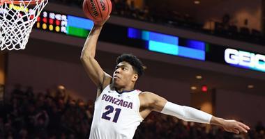 Gonzaga's Rui Hachimura flies in for a dunk.