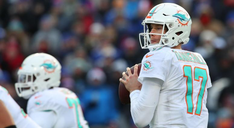 Dec 30, 2018; Orchard Park, NY, USA; Miami Dolphins quarterback Ryan Tannehill (17) drops back to pass against the Buffalo Bills during the third quarter at New Era Field.