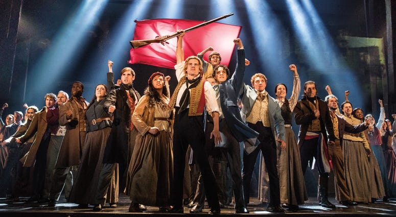 "The company of LES MISÉRABLES performs ""One Day More."""