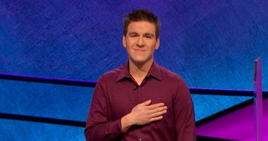 "This image made from video aired on ""Jeopardy!"" on Tuesday, April 9. 2019, and provided by Jeopardy Productions, Inc. shows James Holzhauer."