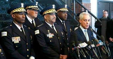 "Chicago Mayor Rahm Emanuel, right, and Chicago Police Superintendent Eddie Johnson, center, appear at a news conference Tuesday, March 26, 2019, after prosecutors abruptly dropped all charges against ""Empire"" actor Jussie Smollett"
