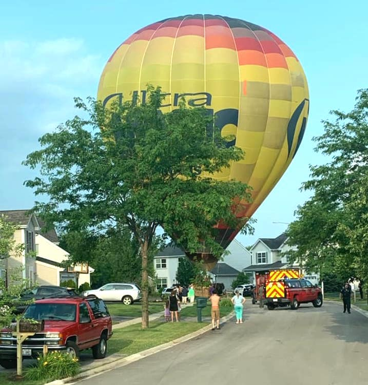 A hot air balloon landed on a Huntley residential street July 8, 2020, after someone onboard had a medical emergency.