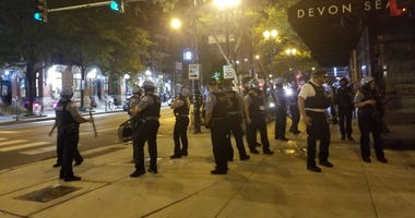 Chaos erupted in downtown Chicago early Monday morning, with reports of looting and property damage, as well asshots fired at and by police.
