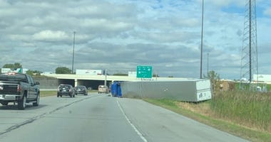 A semitrailer overturned in Hammond, Indiana on Oct. 17, 2019.