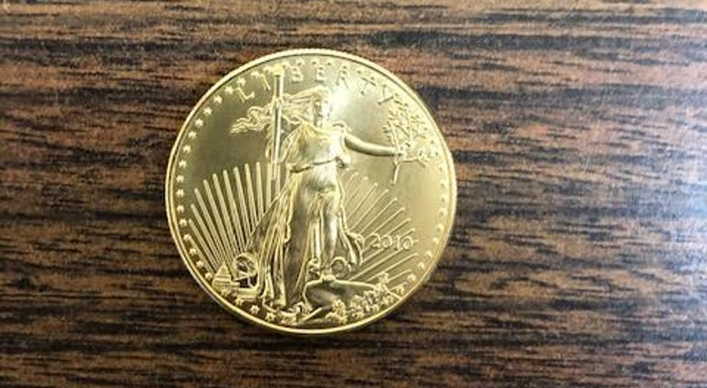 This gold coin was dropped into a Salvation Army kettle on Dec. 11, 2019 in Westchester.