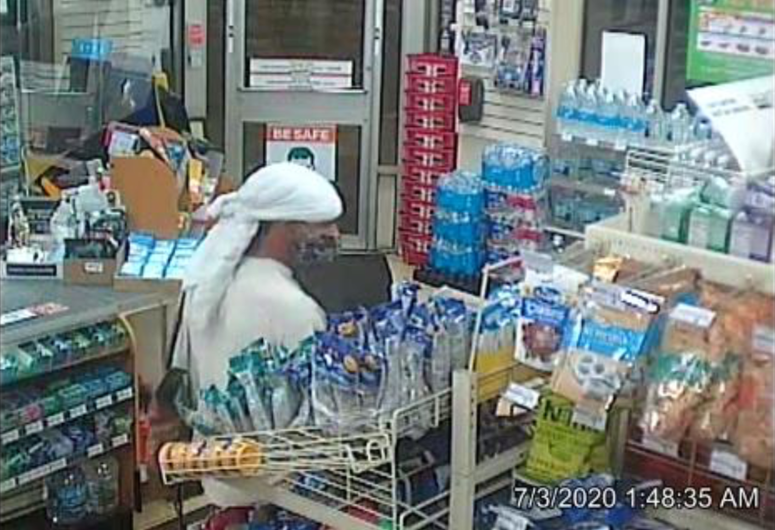 Police released surveillance images of the suspect in a robbery July 3, 2020, at the 7-Eleven store at 2619 N. Clark St.