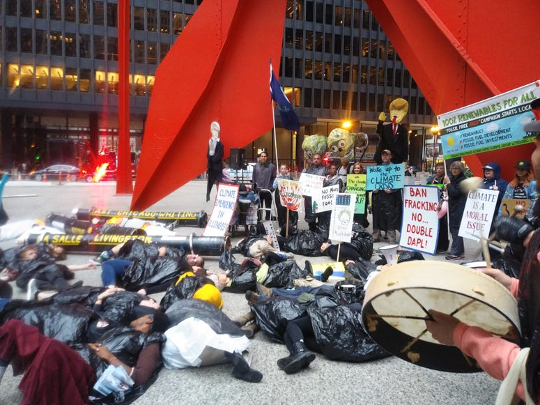 Protestors organized Friday dowtown with demands to the Governor concerning the footprint of the Dakota Access Pipeline in Illinois.