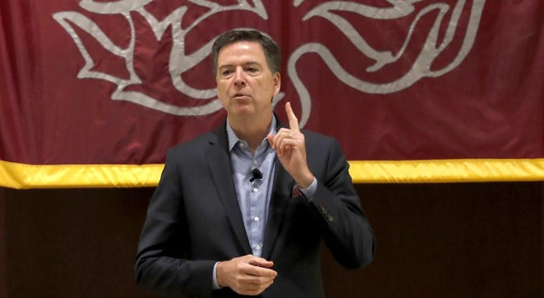 Former FBI director James Comey speaks at the University of Chicago Law School for the 2019 Ulysses and Marguerite Schwartz Memorial Lecture, Tuesday, Oct. 29, 2019, in Chicago.