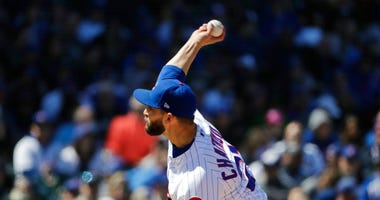 Chicago Cubs starting pitcher Tyler Chatwood throws against the Milwaukee Brewers during the third inning of a baseball game Sunday, April 29, 2018, in Chicago.