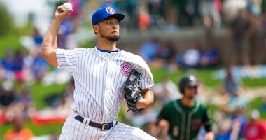 Chicago Cubs' Yu Darvish pitches during the Great Lakes Loons at South Bend Cubs baseball game Sunday, Aug. 19, 2018, at Four Winds Field in South Bend, Ind. Darvish was on rehab assignment with the Class A affiliate of the major league team. (Robert Fran