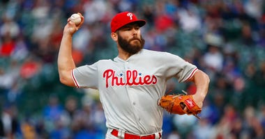 Philadelphia Phillies starting pitcher Jake Arrieta delivers against the Chicago Cubs during the first inning of a baseball game, Monday, May 20, 2019, in Chicago.