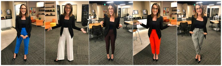 This combination of photos provided by Maggie Vespa shows Vespa, a weekend news anchor and TV reporter at NBC affiliate KGW-TV in Portland, Oregon, wearing a variety of high-waisted pants she wore for five separate news casts over the weekend.