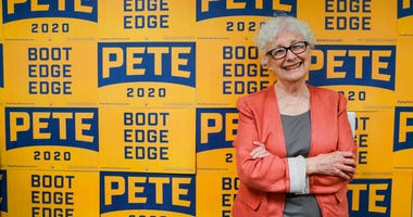 Anne Montgomery, mother of Democratic presidential candidate South Bend Mayor Pete Buttigieg, poses in his campaign office in South Bend, Ind., Wednesday, Sept. 25, 2019.