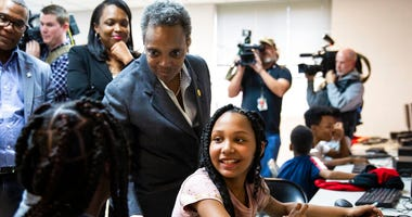 On the fifth day of the Chicago Teachers Union strike, Mayor Lori Lightfoot visits Chicago Public Schools students at a contingency site, James R. Jordan Boys & Girls Club in Chicago, Monday, Oct. 21, 2019