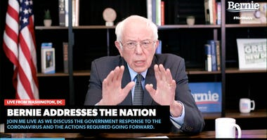 In this image from video provided by BernieSanders.com, Democratic presidential candidate Sen. Bernie Sanders, I-Vt., speaks from Washington, Tuesday, March 17, 2020.