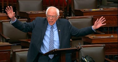 In this image from video, Sen. Bernie Sanders, I-Vt., speaks on the Senate floor at the U.S. Capitol in Washington, Wednesday, March 25, 2020.