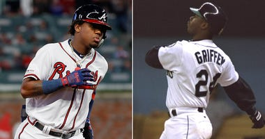 Ronald Acuña Jr. with the Atlanta Braves in 2018; Ken Griffey Jr. with the Seattle Mariners in 1995