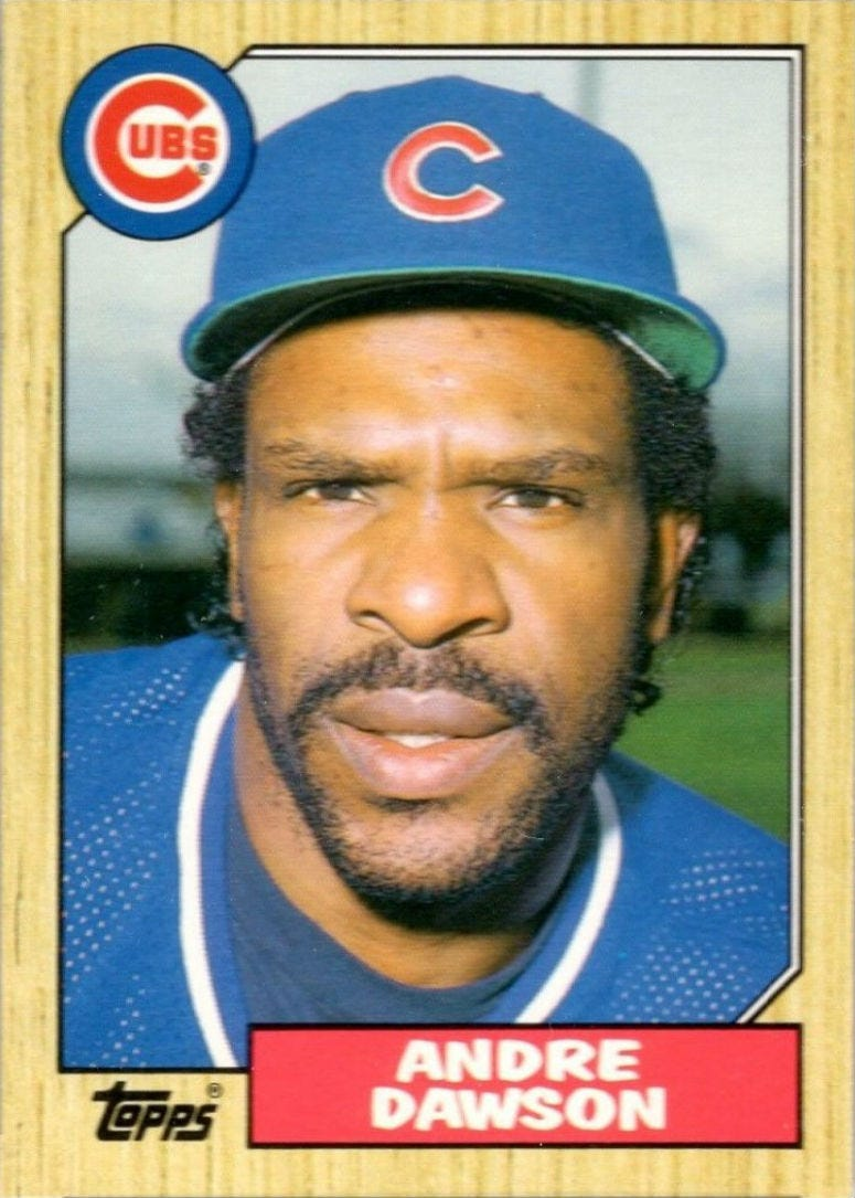 """Beckett Baseball editor Mike Payne: """"Isn't that a great looking card?  I love the wood border, and whenever I think of the '80s, this is the first card that I think of, this set, this '87 set.  The Hawk won the MVP with a last-place Cubs team, which is sa"""
