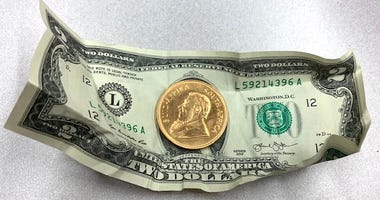 This gold coin was dropped into a Salvation Army kettle on Dec. 10, 2019 in Naperville.