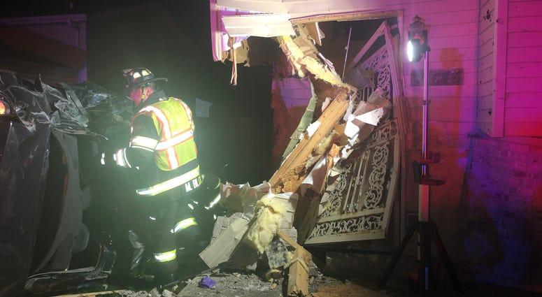 A stolen vehicle crashed early Thursday morning into a home in suburban Beach Park.