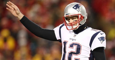 Tom Brady signals a first down during the New England Patriots' AFC Championship win over the Kansas City Chiefs.