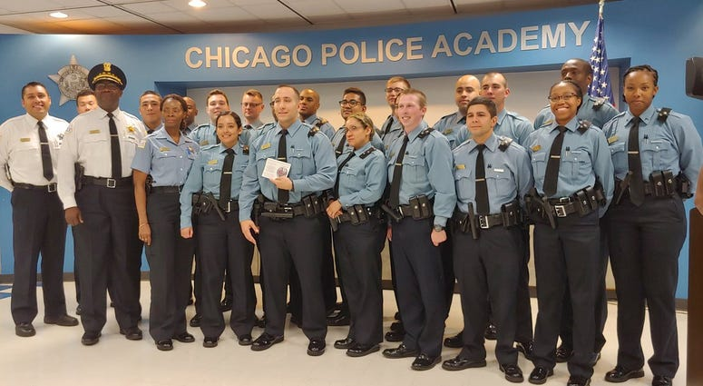 The Chicago Police Department honored one of its recruits Friday morning for helping save a man's life on the West Side.