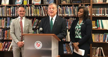 Senator Dick Durbin is at the Franklin Fine Arts Center in Old Town to announce a new shipment of EpiPens to CPS.
