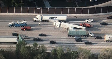A semi truck crashed Wednesday morning on I-94/80 in Hammond, Indiana, causing major delays for commuters.