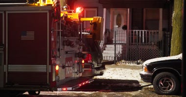 Chicago Fire crews fight a blaze that started in a garage about 4:30 a.m. Nov. 13, 2019 in Brighton Park.