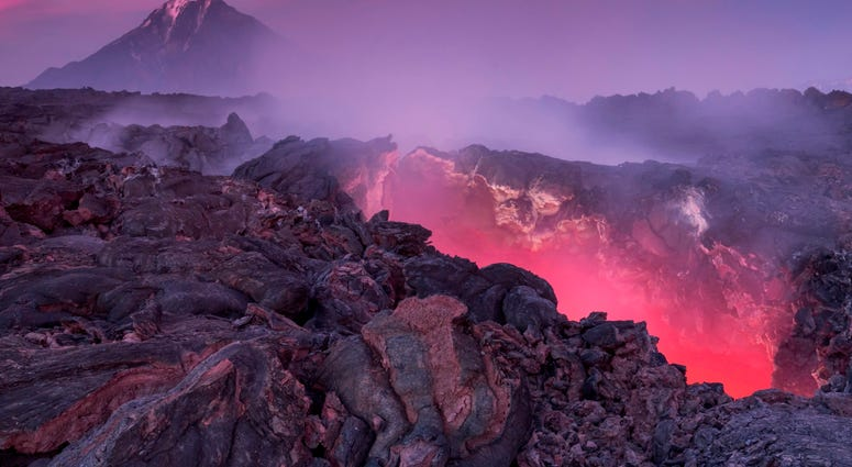Five years after last erupting in Kamchatka Peninsula, Russia, the molten rock of Plosky Tolbachik volcano still glows and radiates intense heat.