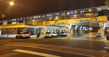 Police vehicles stopped outside the Morse Red Line station July 30, 2019.