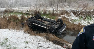 Indiana State Police responded a vehicle that drove off I-80, mile marker 14, near Lake Station on April 17, 2020.