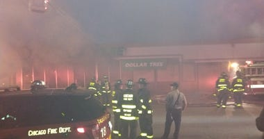 A fire tore through a Dollar Tree store Tuesday evening in Humboldt Park.