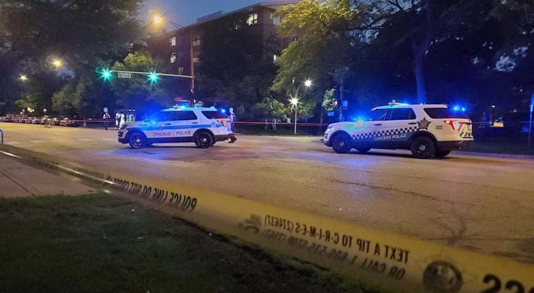 Chicago police investigate the scene of a shooting July 1, 2020, in the 7300 block of North Sheridan Road.